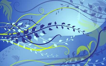شاخه و برگ های آبی