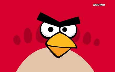 تصوير يك پرنده قرمز در بازي پرندگان عصباني (angry birds)