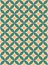 طرح اسلیمی دایره چهار برگ رنگی
