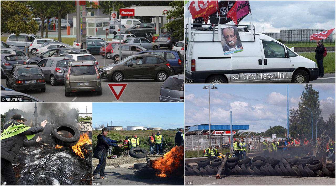 اعتصاب کارکنان پالایشگاههای فرانسه و تشکیل صفوف طولانی مقابل پمپهای بنزین اعتصاب کنندگان مسیر پالایشگاه های فرانسه را مسدود کردند