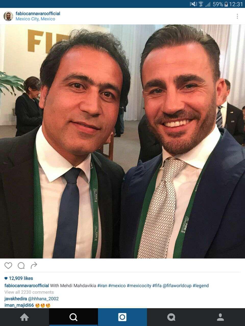فابیو کاناوارو ستاره سابق تیم ملی ایتالیا سلفیاش با مهدوی کیا را منتشر کرد