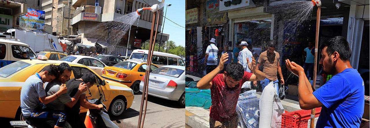 راهکار خیابانی عراقیها برای خنک شدن