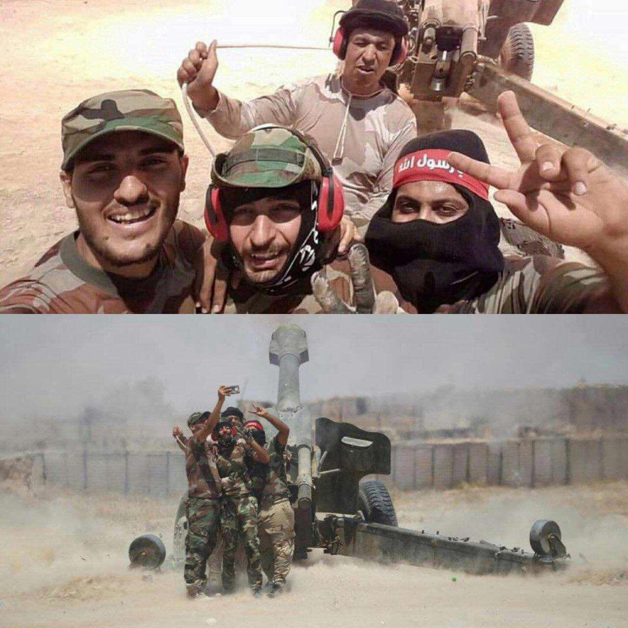 سلفی خاص رزمندگان بسیج مردمی عراق با توپ جنگی!