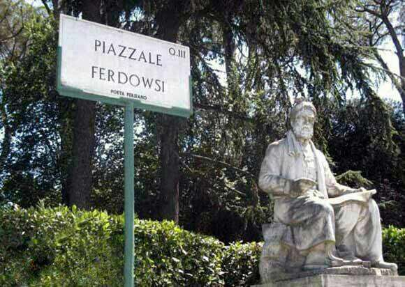 مجسمه مرمرین فردوسی در میدان فردوسي ايتاليا