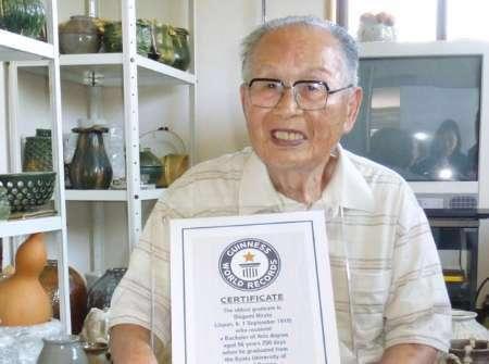 مسنترین دانشجوی جهان در سن 96 سالگی توانست از یکی از دانشگاههای ژاپن فارغالتحصیل شود و نام خود را در کتاب گینس به ثبت برساند.