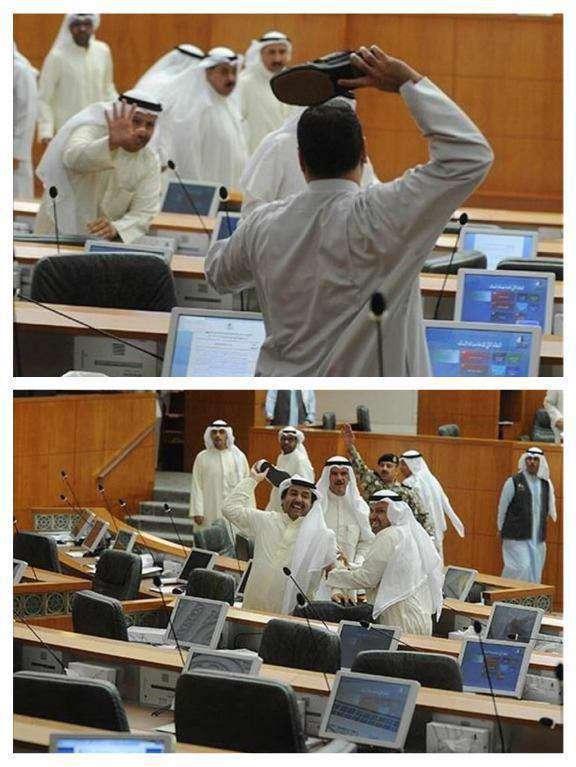 جنگ با «دمپایی» در پارلمان کویت