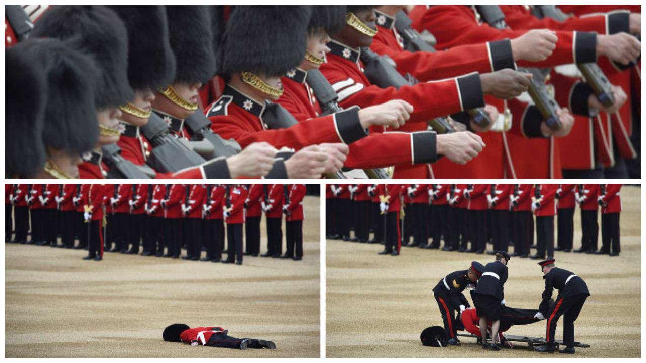 در مراسم جشن تولد ملکه انگلستان یکی از سربازان شرکت کننده در رژه بخاطر ایستادن به مدت طولانی از هوش رفت و نقش زمین شد!