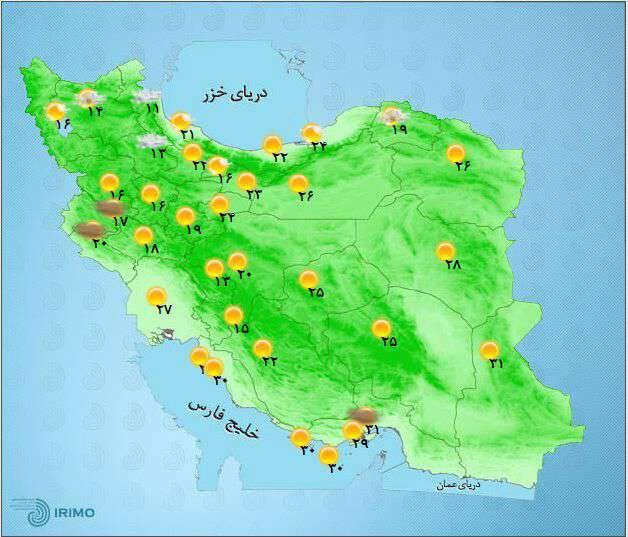 دمای هوای مراکز استانهای کشور  چهارشنبه 12 خرداد