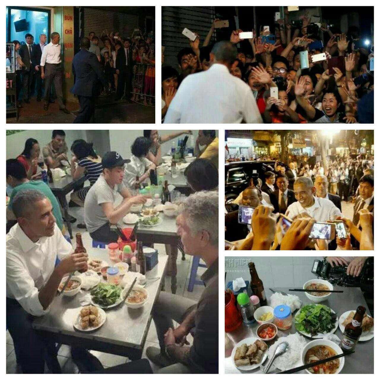 باراک اوباما که سفری تاریخی برای نخستین بار پس از جنگ ویتنام در سال 1965 به این کشور سفر کرده است، شب گذشته شام را در رستورانی محلی در هانوی پایتخت این کشور صرف کرد.