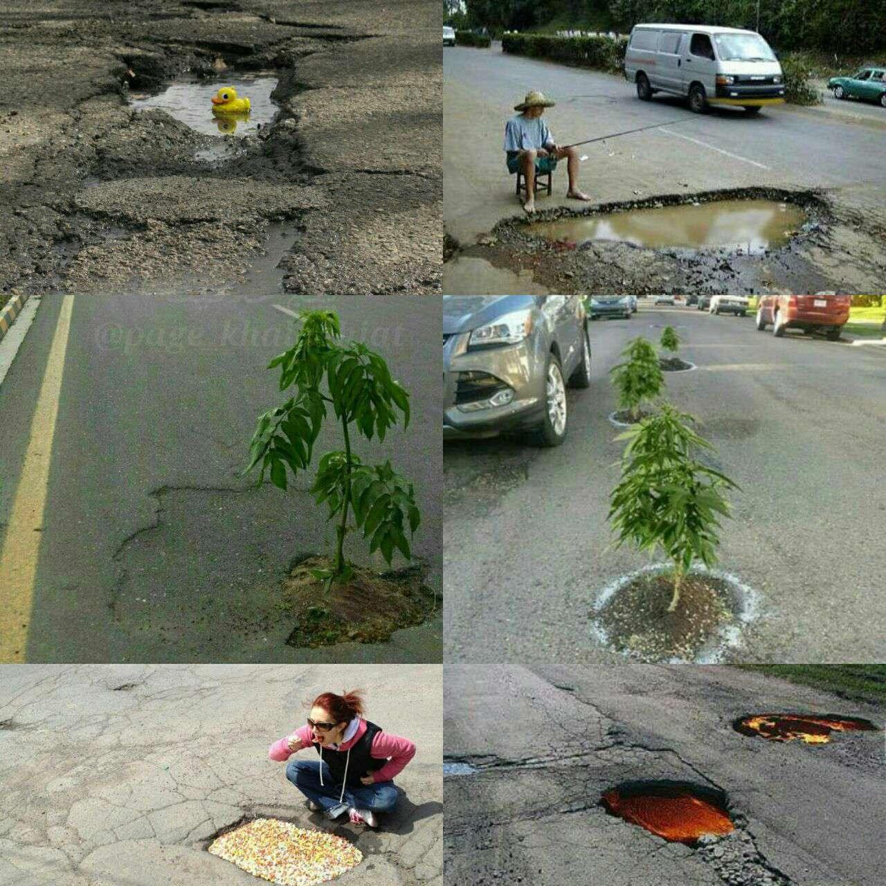 اعتراض به چاله های خیابان در کشورهای مختلف