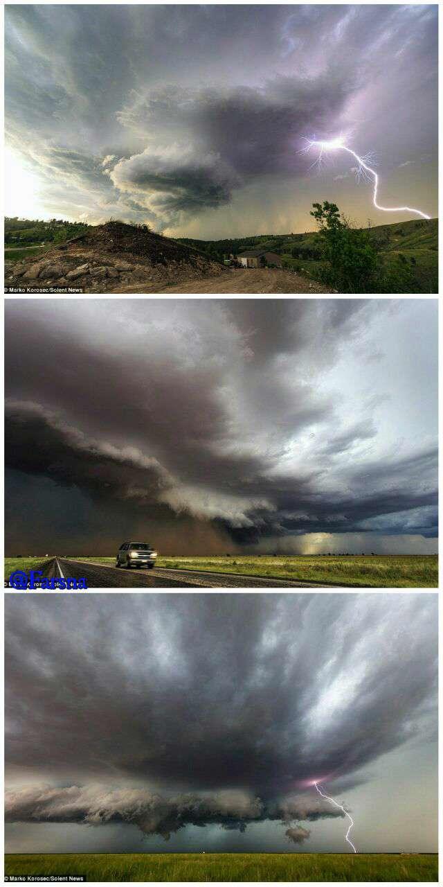 عکس مستند/ تصاویر شجاعانه یک عکاس آماتور قبل از بروز طوفان و گردباد در آمریکا