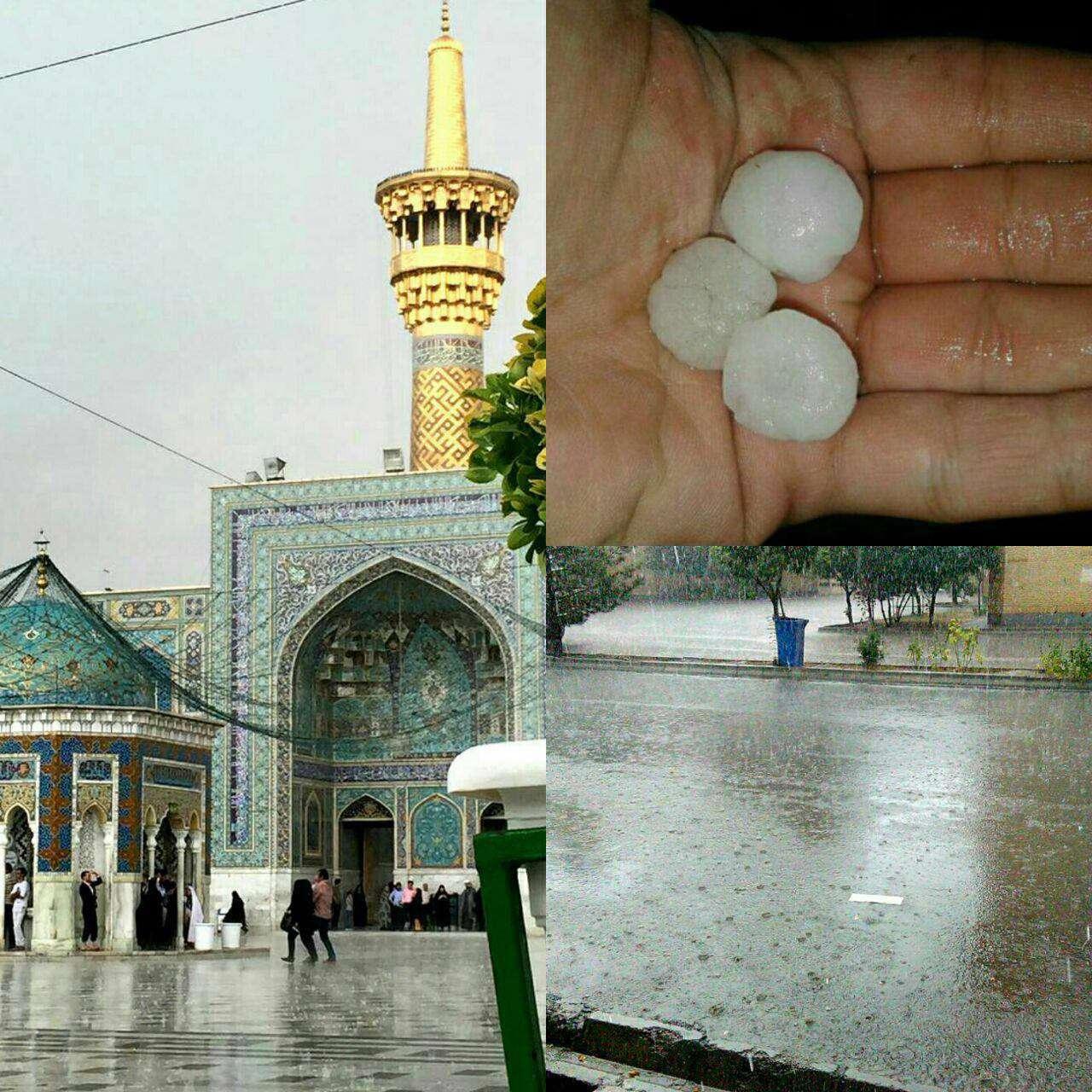 بارش باران شدید و تگرگ در مشهد