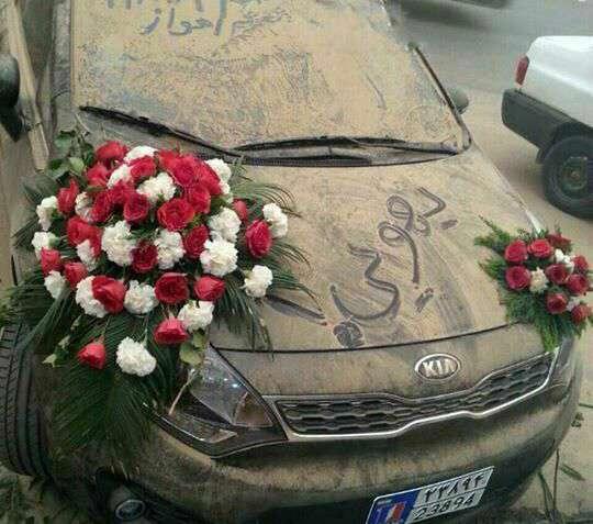 ماشین عروس، گل، گلزده، عروسی، غبار، خاک