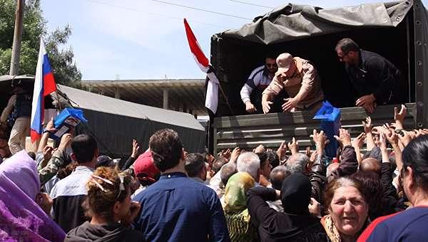 نظامیان روسی حدود 3 تن کمکهای انسان دوستانه وارد دمشق کردند