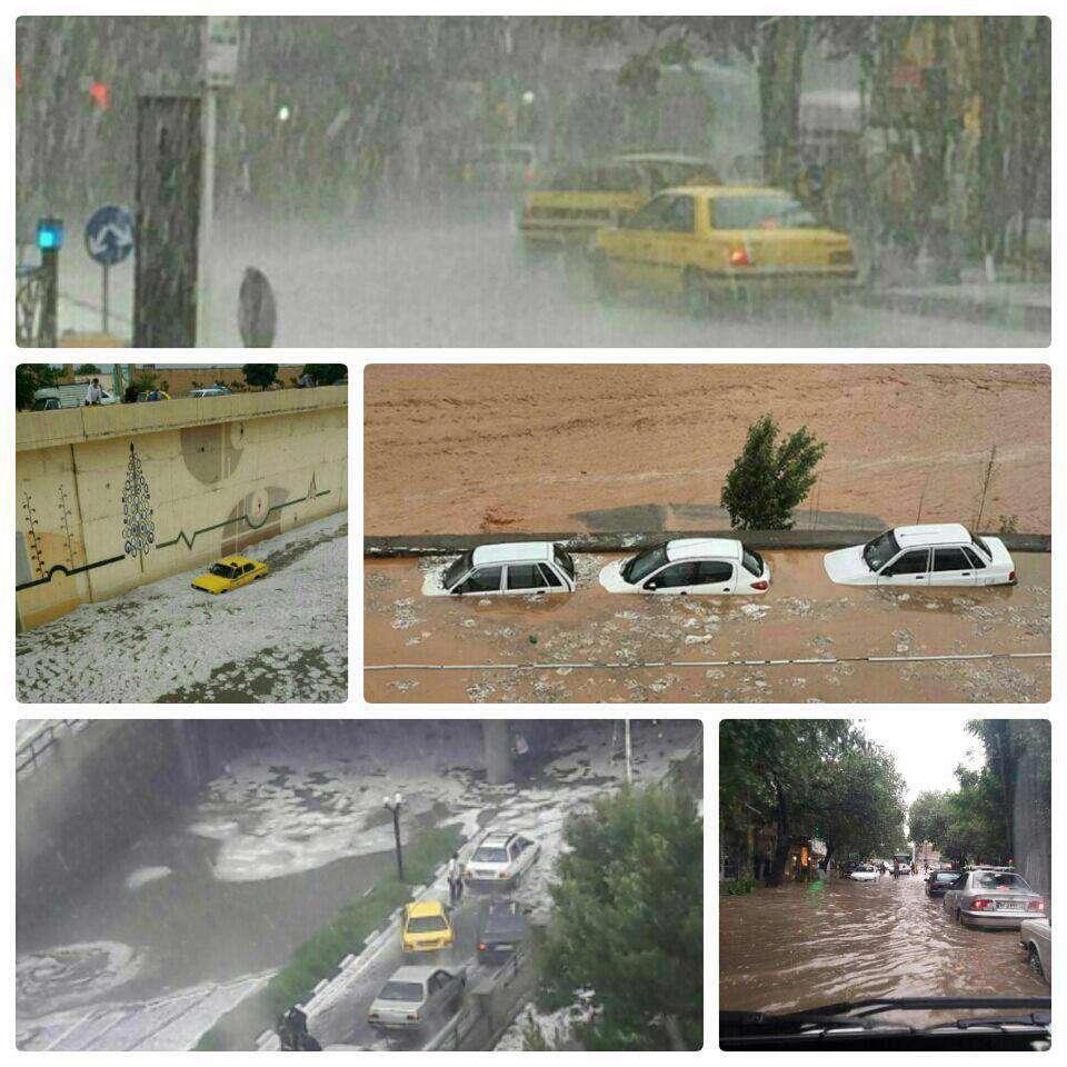 بارش شدید باران در تبریز باعث آبگرفتگی در خیابانها و معابر شد
