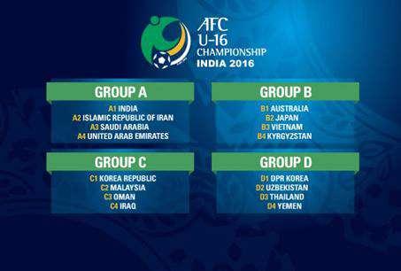 اعلام زمانبندی رقابتهای فوتبال قهرمانی زیر 16 سال آسیا