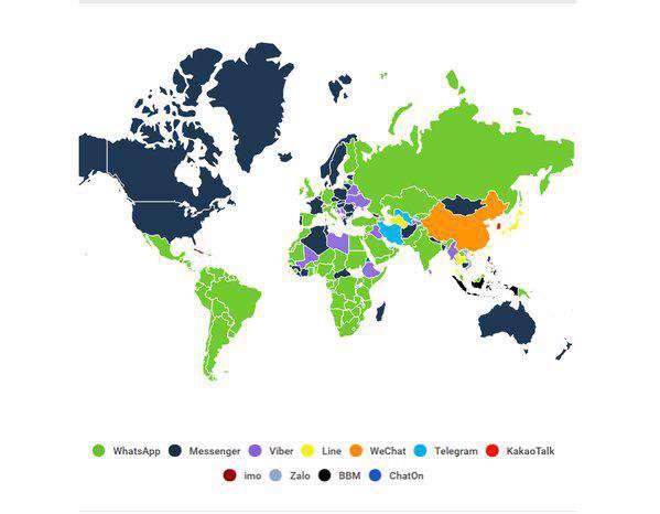 🔸نقشه محبوبیت پیام رسانها در کشورهای مختلف