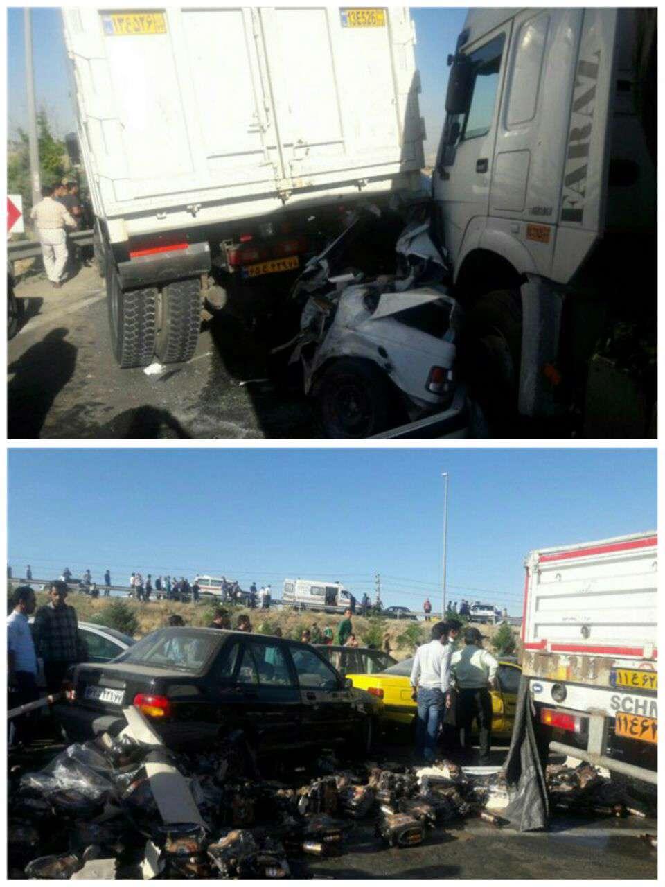 تصادف زنجیرهای 12 خودرو در رودهن