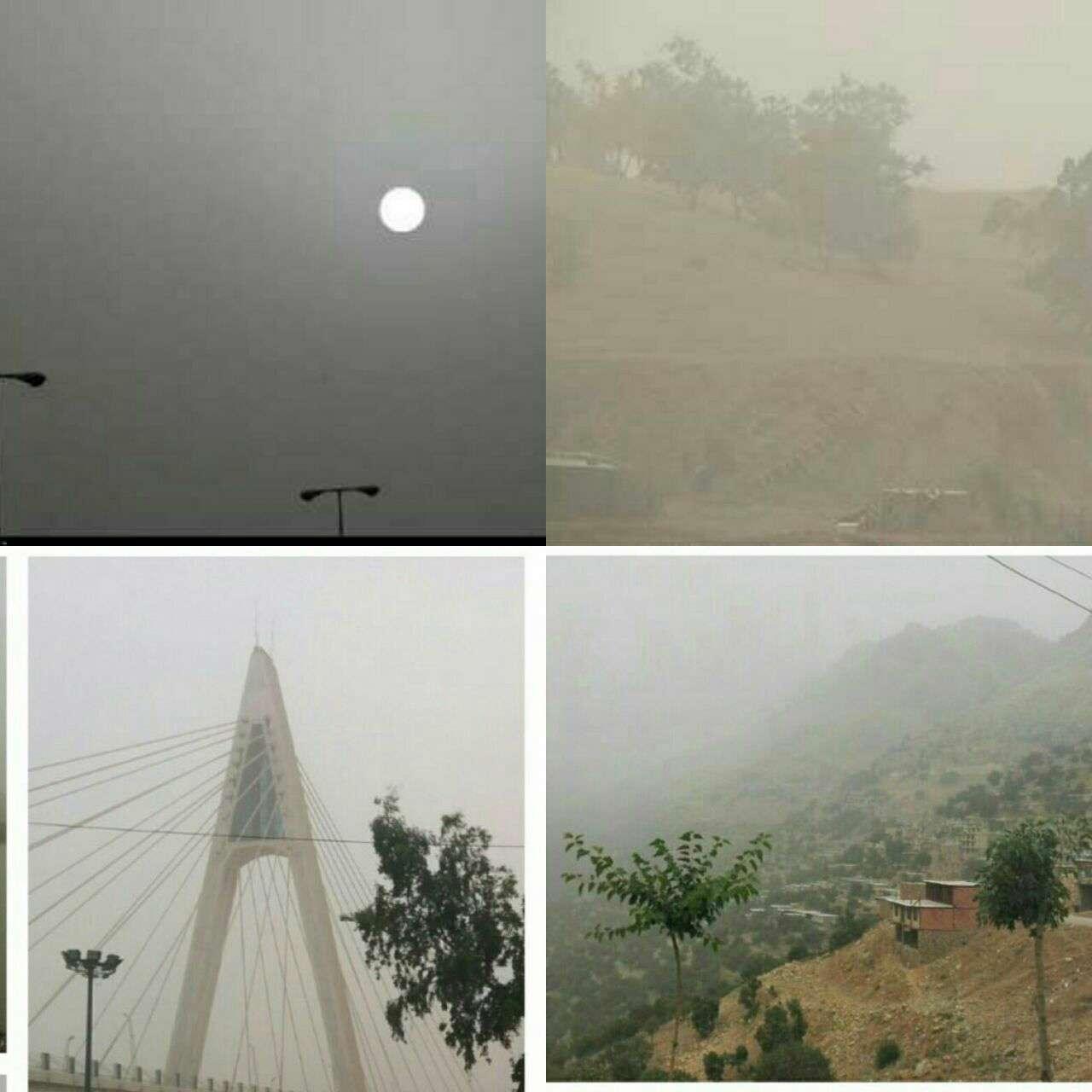 نمایی از آلودگی هوا در چهار شهر قصر شیرین، اورامان، کرمانشاه و اهواز