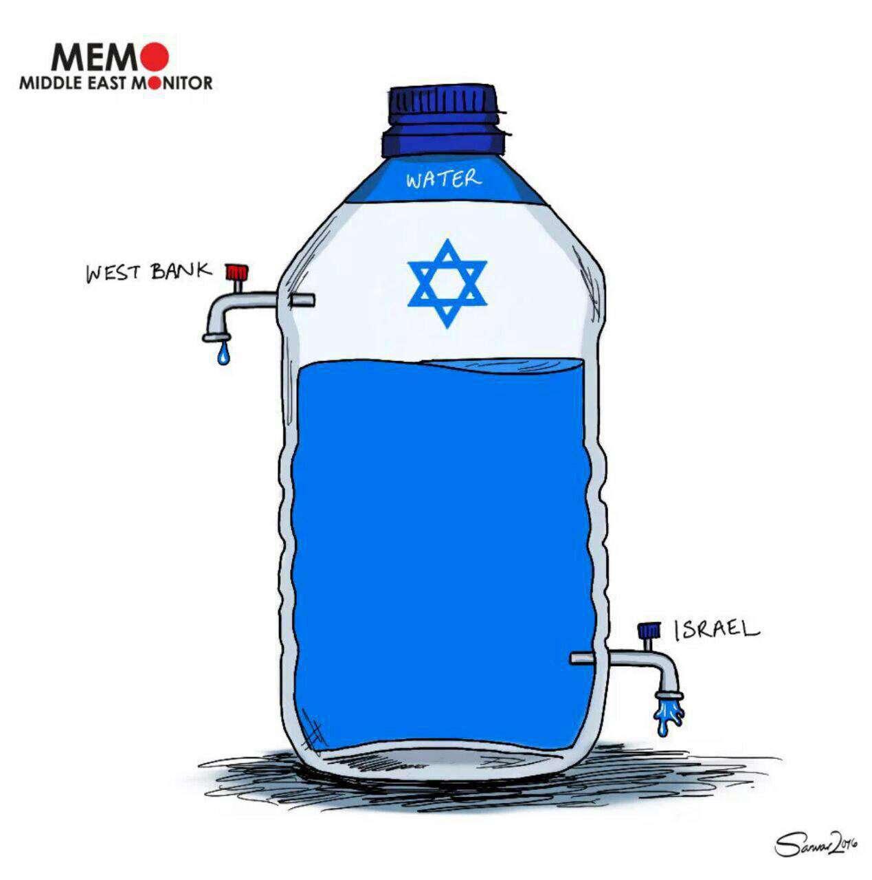 اسرائیل آب را در مناطق فلسطینی نشین جیره بندی کرده است، هر فلسطینی ۶۰ لیتر و هر اسراییل ۳۶۰ لیتر آب در روز