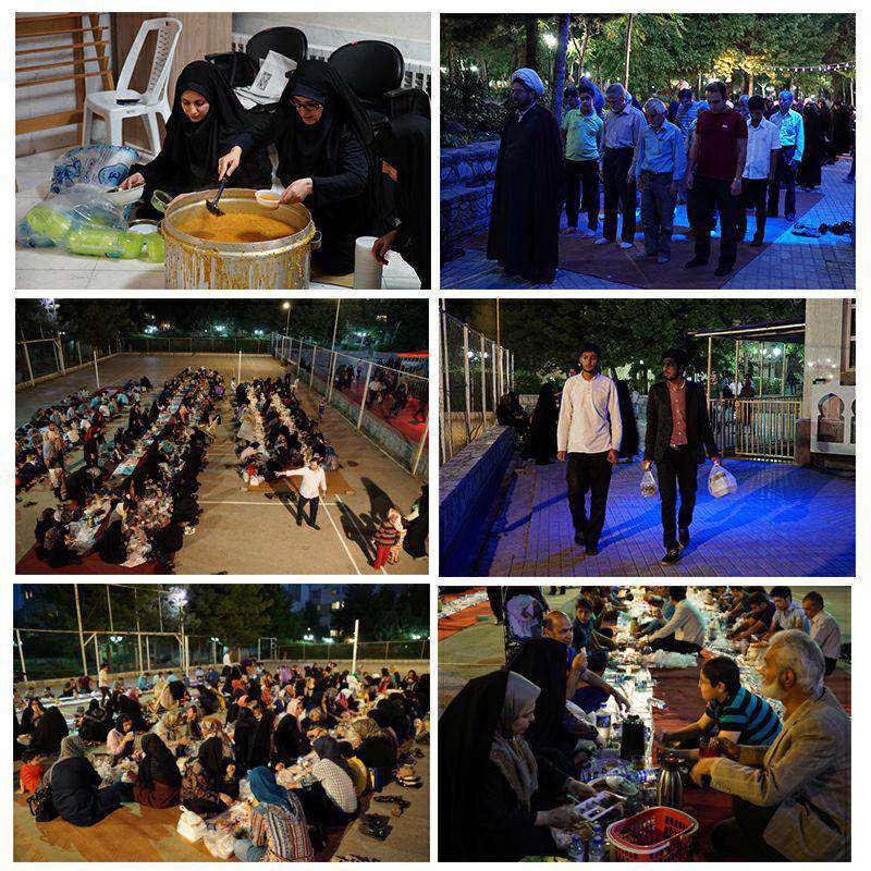 افطاری ساده 400 نفری اهالی محله در پارک لاله مشهد