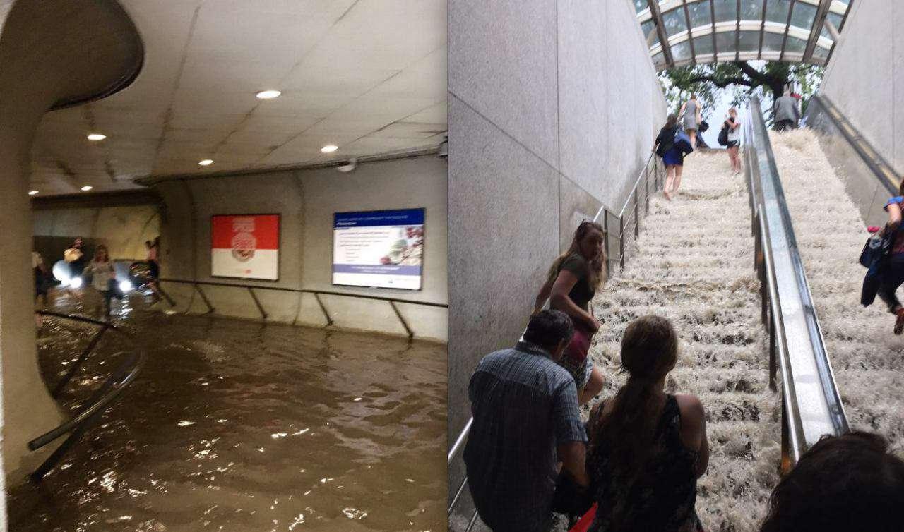 وضعیت یکی از ایستگاههای متروی واشنگتن دیسی پس از بارش رگبار برای ۲ ساعت