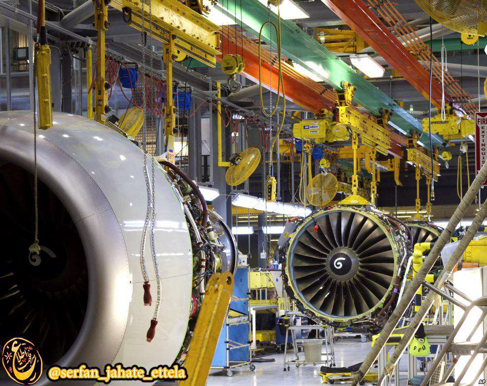 نمایی از کارخانه بوئینگ در حال تولید موتور بوئینگ ۷۳۷ در ایالت واشنگتن