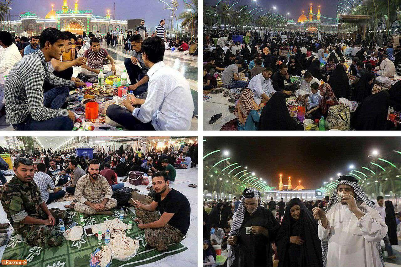سفرههای باصفای افطار در بینالحرمین