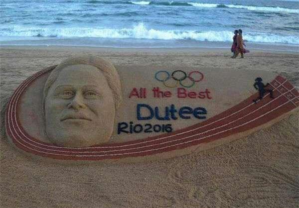 یک هنرمند هندی تصاویری را با شن با موضوع المپیک ریو در کنار ساحل دریا خلق کرد