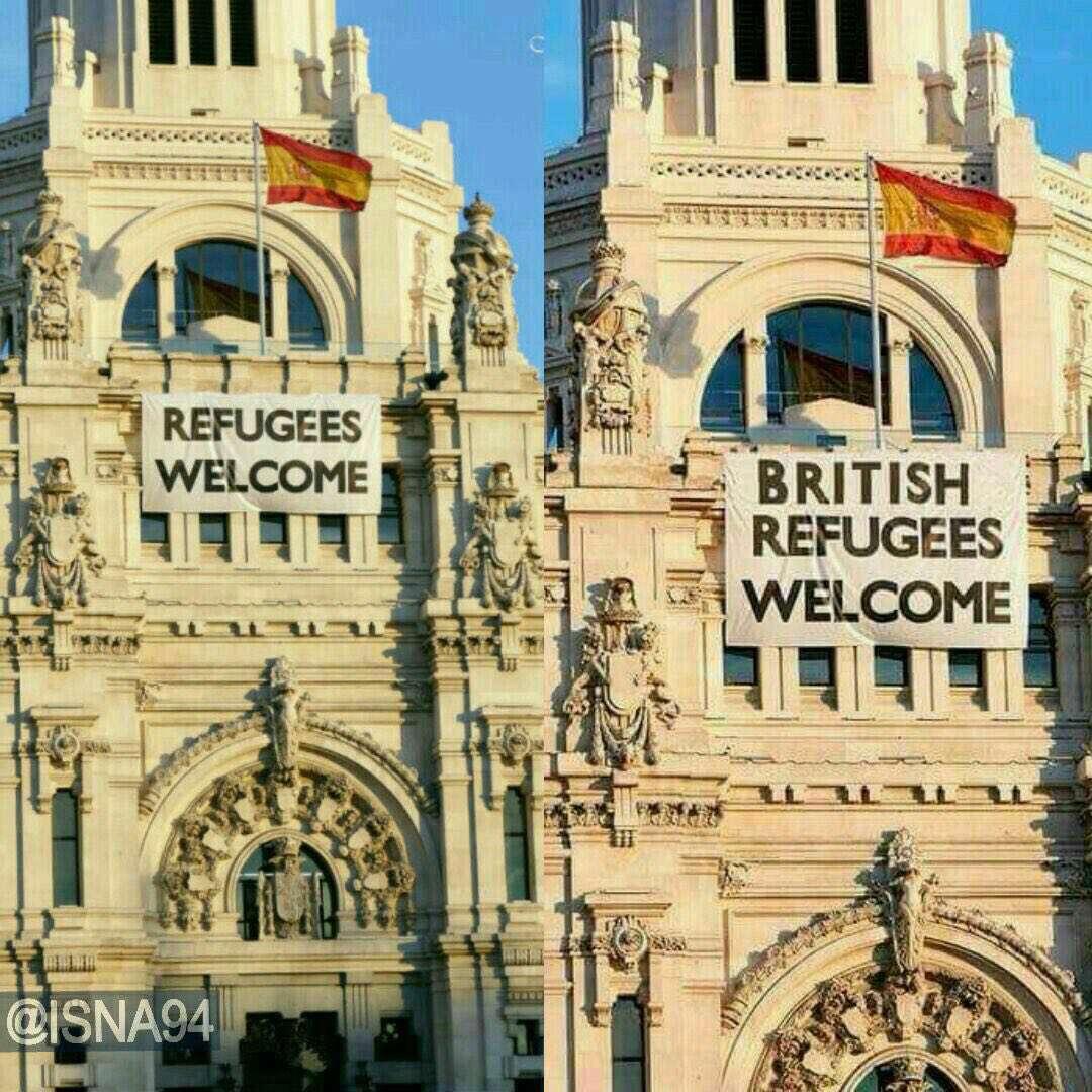 """ساختمان مشهوری در اسپانیا که روی آن نوشته شده """"مهاجران انگلیسی پذیرفته میشوند"""".اما  این عکس واقعی نیست و نوعی کنایه به انگلیسی هایی است که رای به خروج از اتحادیه اروپا دادند"""