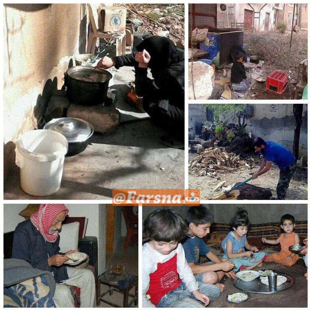 سفرههای افطار فوعه و کفریا در محاصره تروریستهای تکفیری