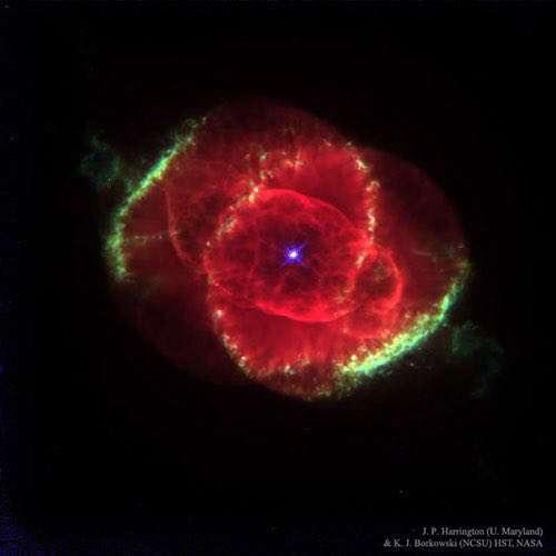 عکس روز ناسا| تصویر خارقالعاده از سحابی چشم گربه | سحابی چشم گربه یک سحابی سیارهنما است که ۳۰۰۰ سال نوری با زمین فاصله دارد