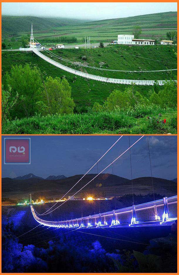 پل زیبا و معلق مشگینشهر به عنوان بزرگترین پل معلق خاورمیانه در ارتفاع ۸۰ متری رودخانه خیاو