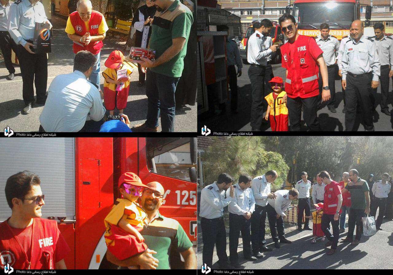 حلما دختر ٥ ساله مبتلا به سرطان كه آرزو داشت اتش نشان شود با كمك آتش نشانان تهراني به آرزوي خود رسيد
