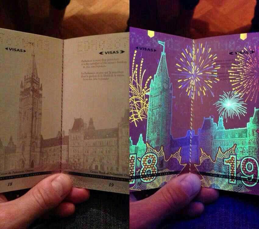 پاسپورت کشور کانادا زیر اشعه نور