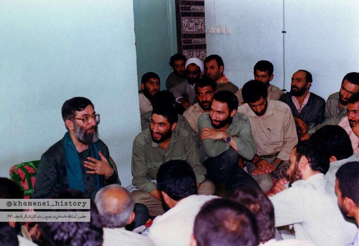 حضور رهبر انقلاب در جمع رزمندگان لشگر ۸ نجف، به فرماندهی سردار احمد کاظمی در ۲۴ مرداد ۱۳۶۷
