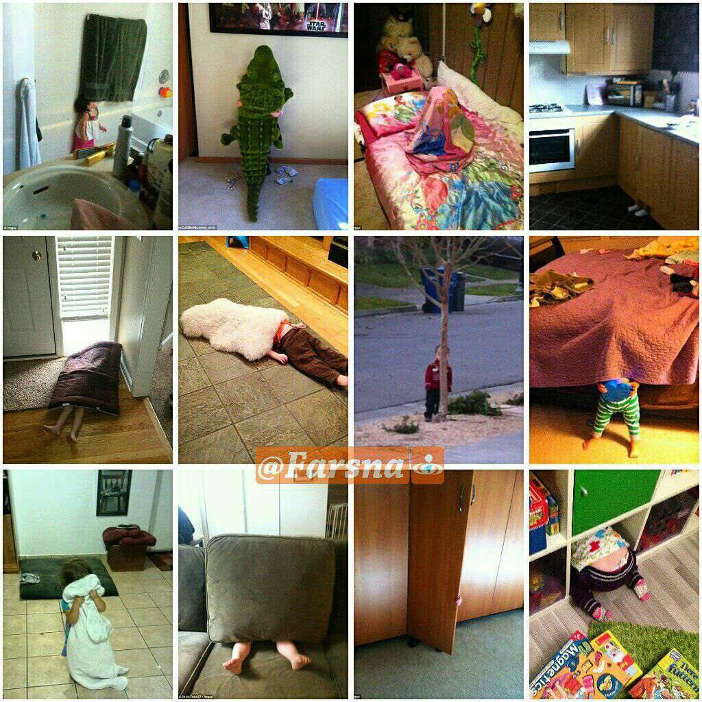 دنیای معصومانه و بامزه کودکان/ کودکانی که خیال میکنند پنهان شدهاند!