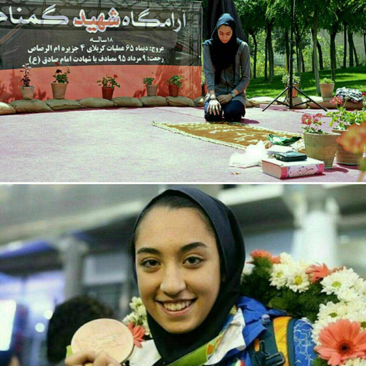 کیمیا علیزاده، مدال خود را به شهید گمنام ۱۸ سالهای که در فدراسیون تکواندو آرام گرفته است، تقدیم کرد