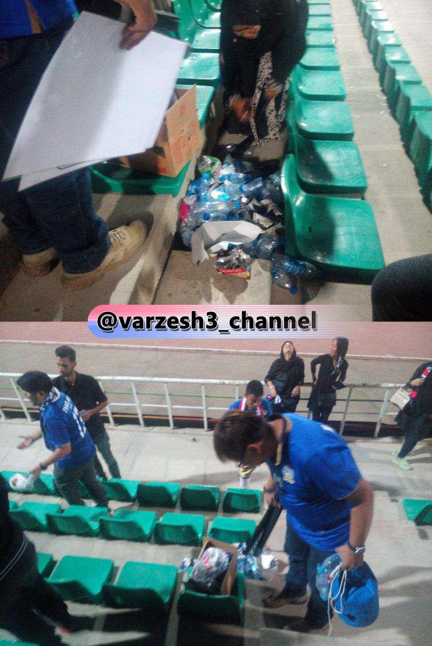 هواداران تایلندی در پایان دیدار امروز تیم شان در برابر عراق که در تهران برگزار شد، زبالههای جایگاه را جمع آوری کردند