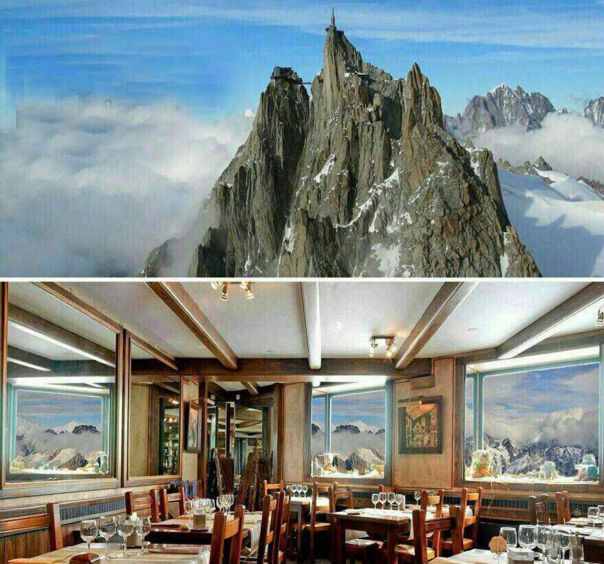 رستورانی زیبا و خارق العاده در بالاى قله اى با ارتفاع 3842 مترى در فرانسه