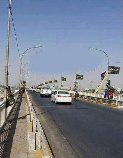 برای اولین بار در تاریخ پرچم یاحسین در فلوجه عراق برافراشته شد
