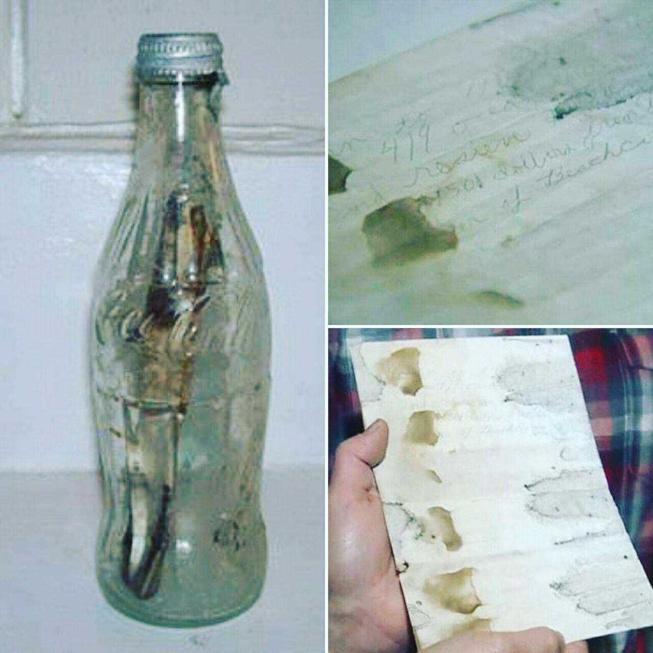 یک مرد آمریکایی بطری حاوی نامه قدیمی را پیدا کرد که 50 سال قبل توسط یک خانواده که به سواحل کارائیب سفر کرده بودند، نوشته شده بود