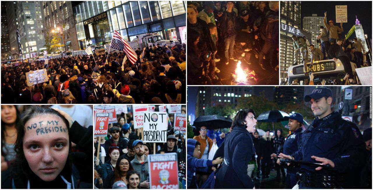 شهرهای مختلف آمریکا با شعار «ترامپ رئیسجمهور من نیست» صحنه تظاهرات علیه رئیس جمهور منتخب شد
