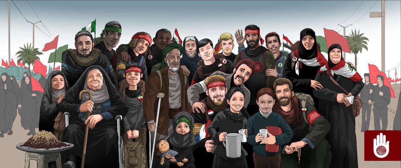 """پیاده روی عظیم و جهانی اربعین و با شعار """" من حامی دین هستم"""""""