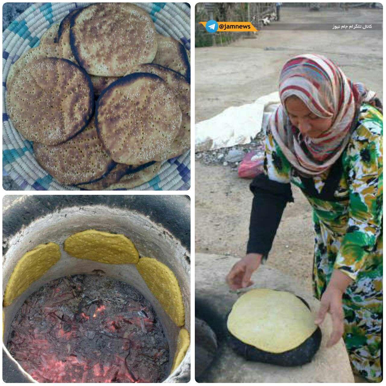 نان لذیذ محلی به نام گرده که در استان بوشهر در تنور گِلی پخت میشود