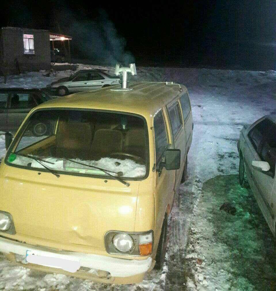 دودکش بخاری نفتی در خودرو مسافران مشگین شهری در زمستان