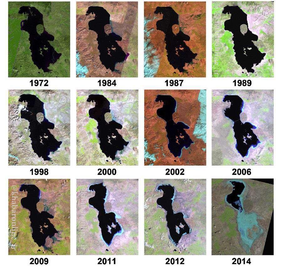 روند نابودی دریاچه ارومیه از ۱۹۷۲ تا ۲۰۱۴ از نگاه محققان دانشگاه کالیفرنیا