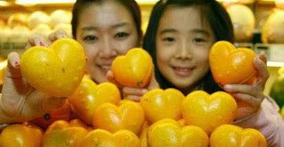 فروش پرتقالهایی جالب در سئول که شکل قلب دارند!