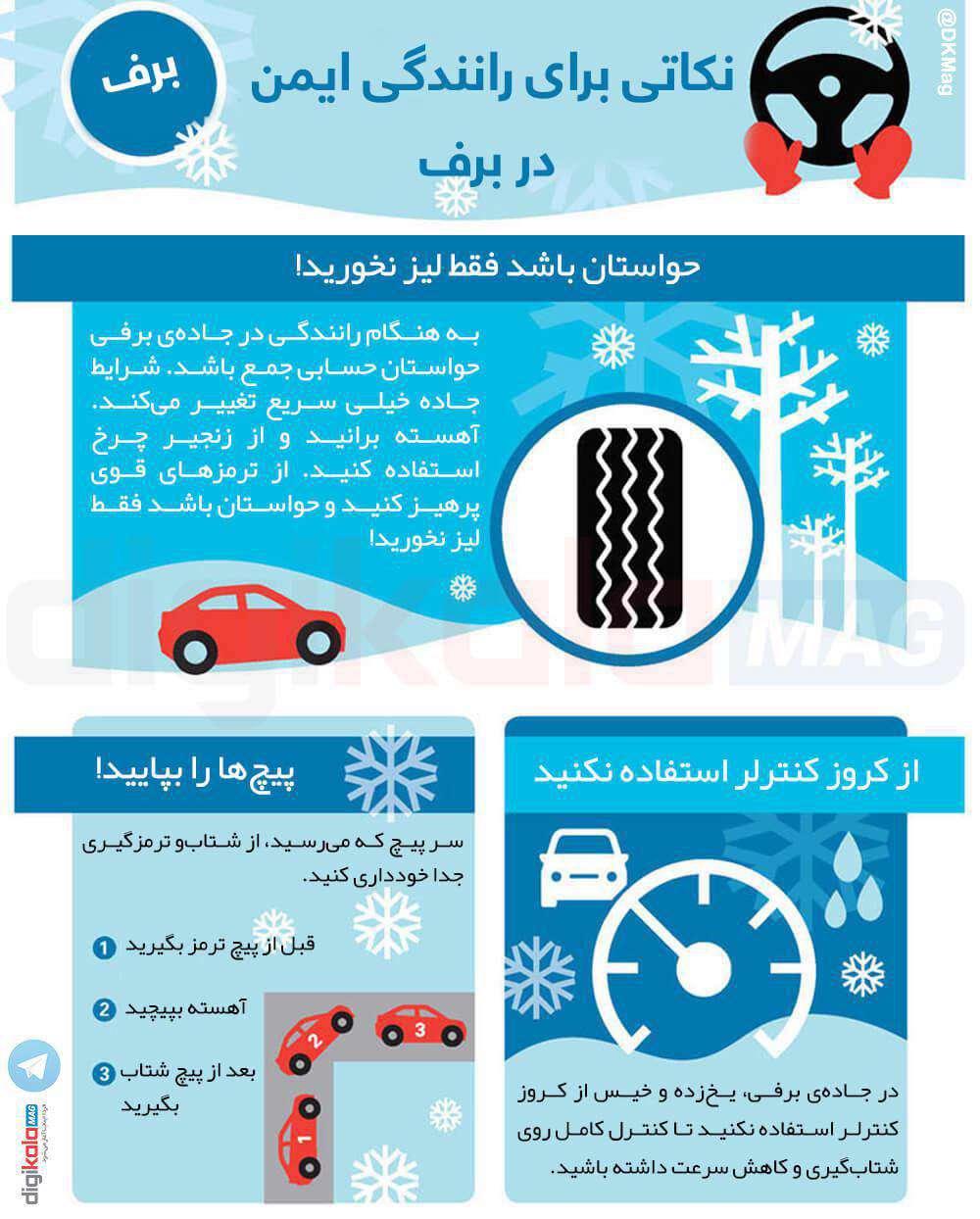 نکاتی برای رانندگی ایمن در برف