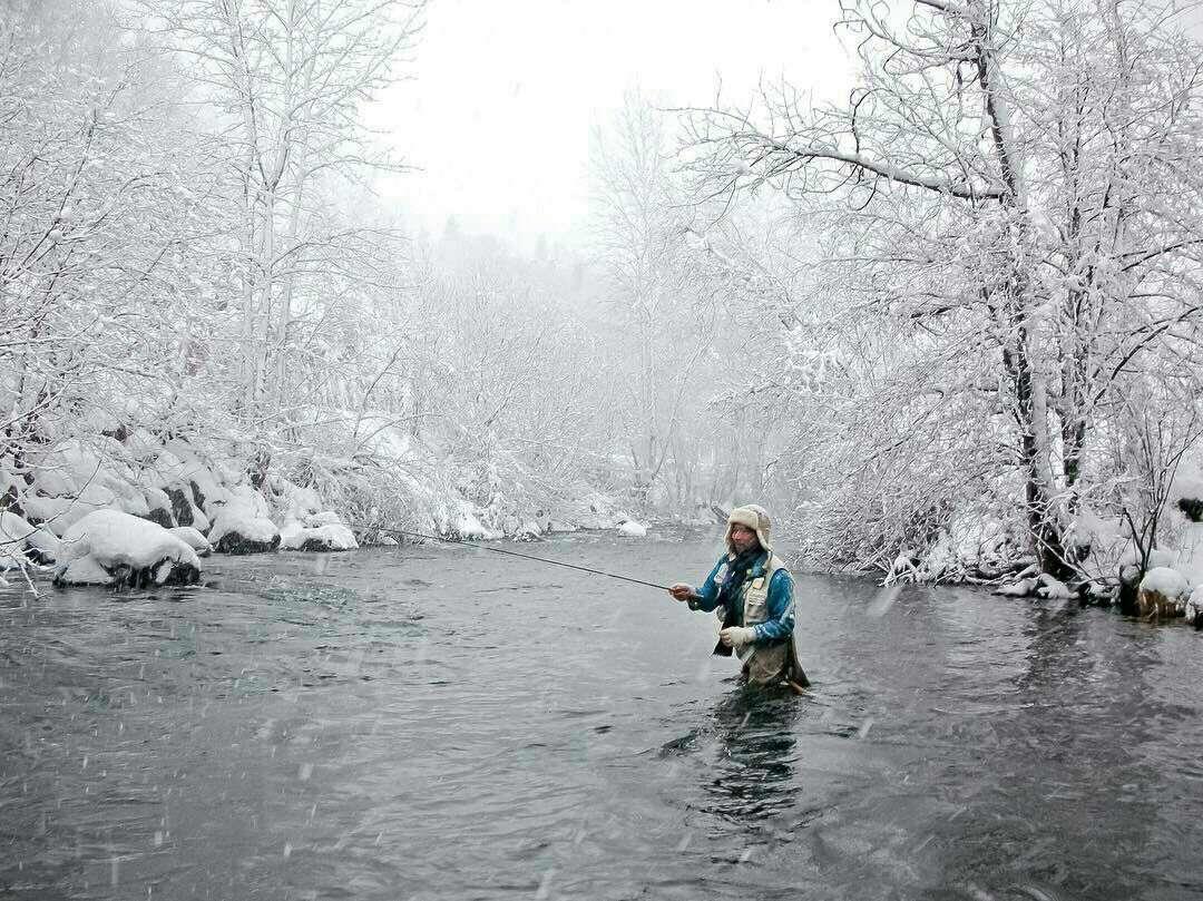 ماهیگیری در روز برفی